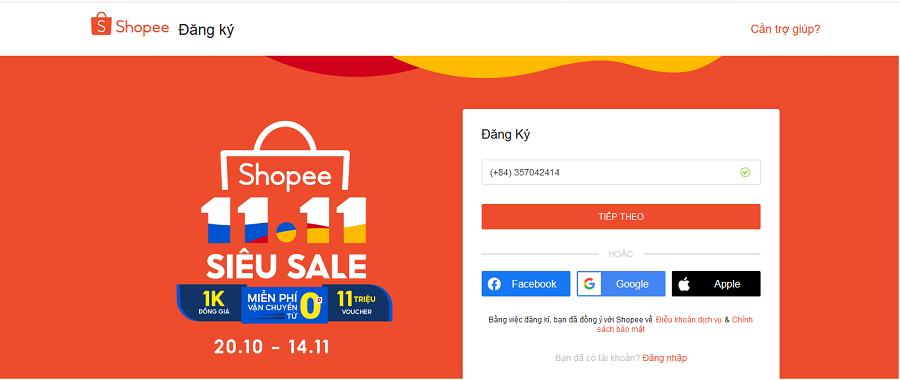 Mở tài khoản trên Shopee