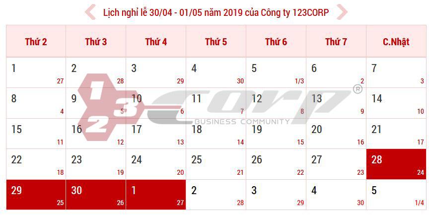 Thông báo lịch nghỉ lễ 30/04 và 01/05 năm 2019 của Công ty 123CORP