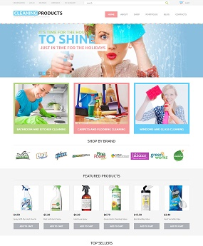Mẫu web giao diện mobile Cleaning Products