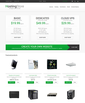 Mẫu web giao diện mobile Hosting Store