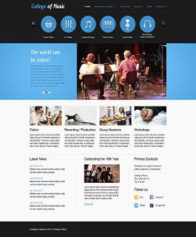 Mẫu website Giáo Dục College Of Music